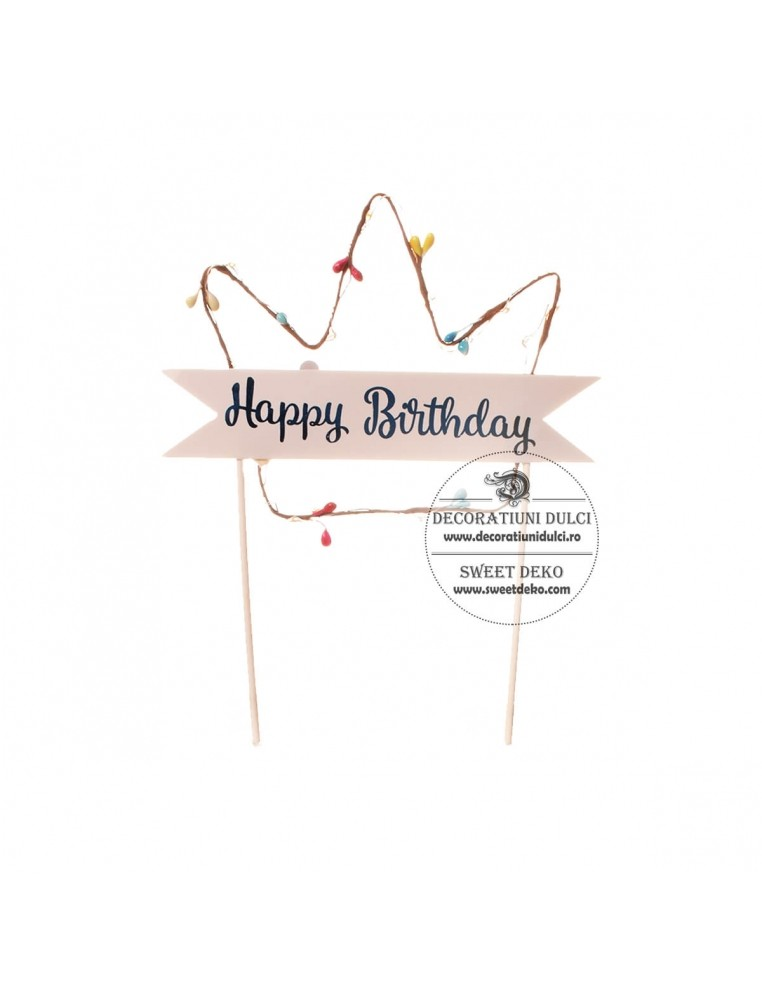 Topper coronita cu led, Happy Birthday