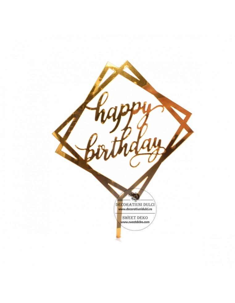 Topper auriu Happy Birthday in forma...
