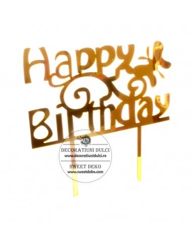 Topper acril auriu, Happy Birthday cu...