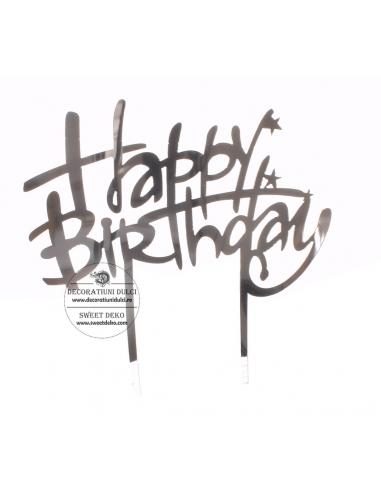 Topper acril argintiu, Happy Birthday...