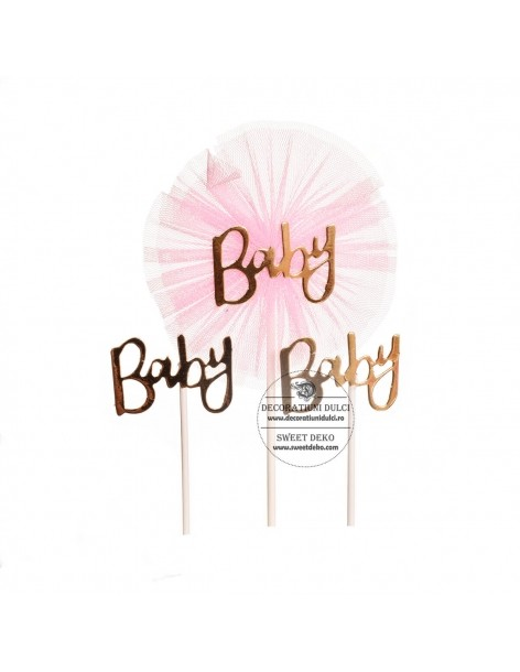 Topper decor Baby cu Tulle Roz