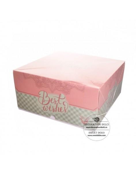 Cutie tort patrata roz/bleu...