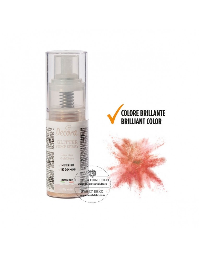 Spray Glitter Gold Rose, Decora