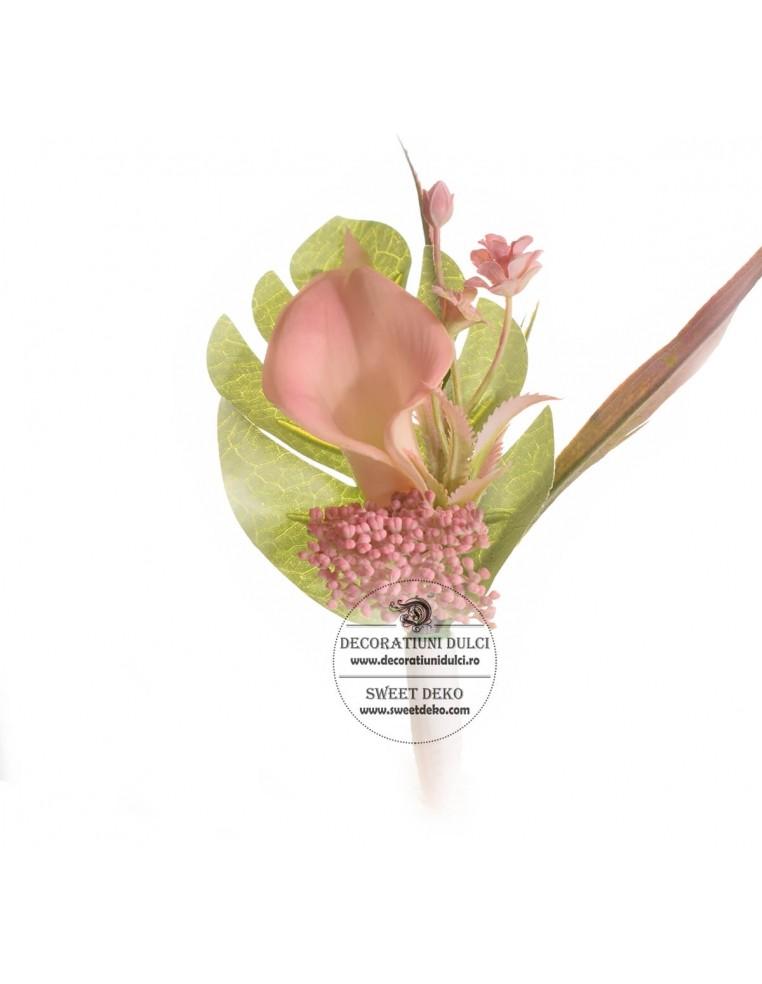 Topper Flori - Cala roz si floricele...