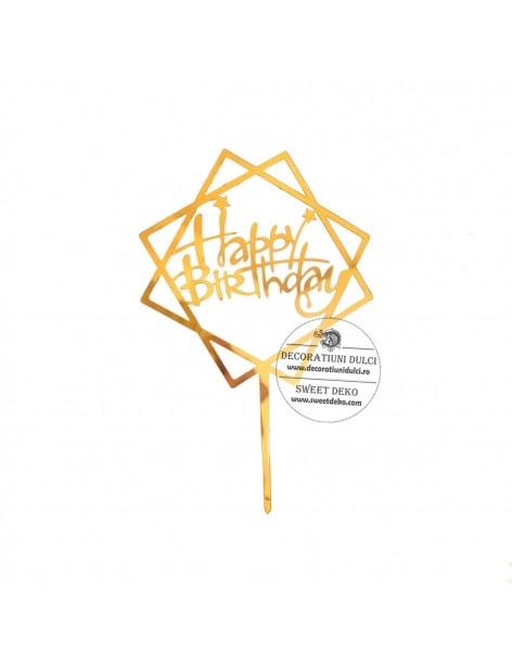 Topper auriu Happy Birthday...