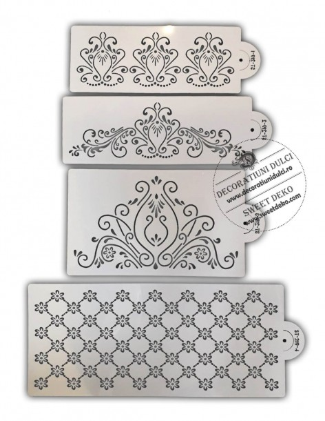 Set 4  stencils decor tort