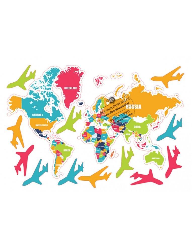 Imagine comestibila Harta lumii colorata