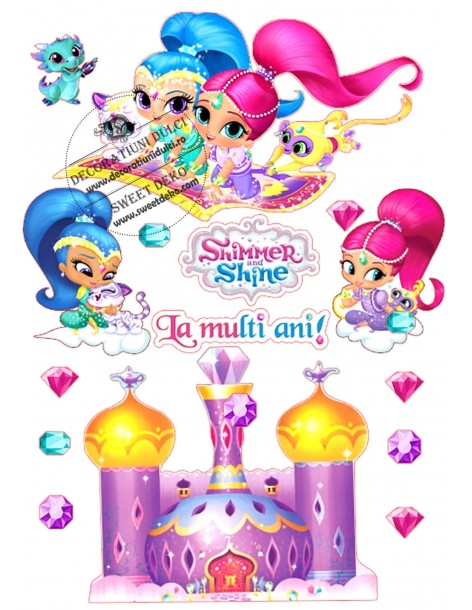 Imagine comestibila Shimmer si Shine, printre nori