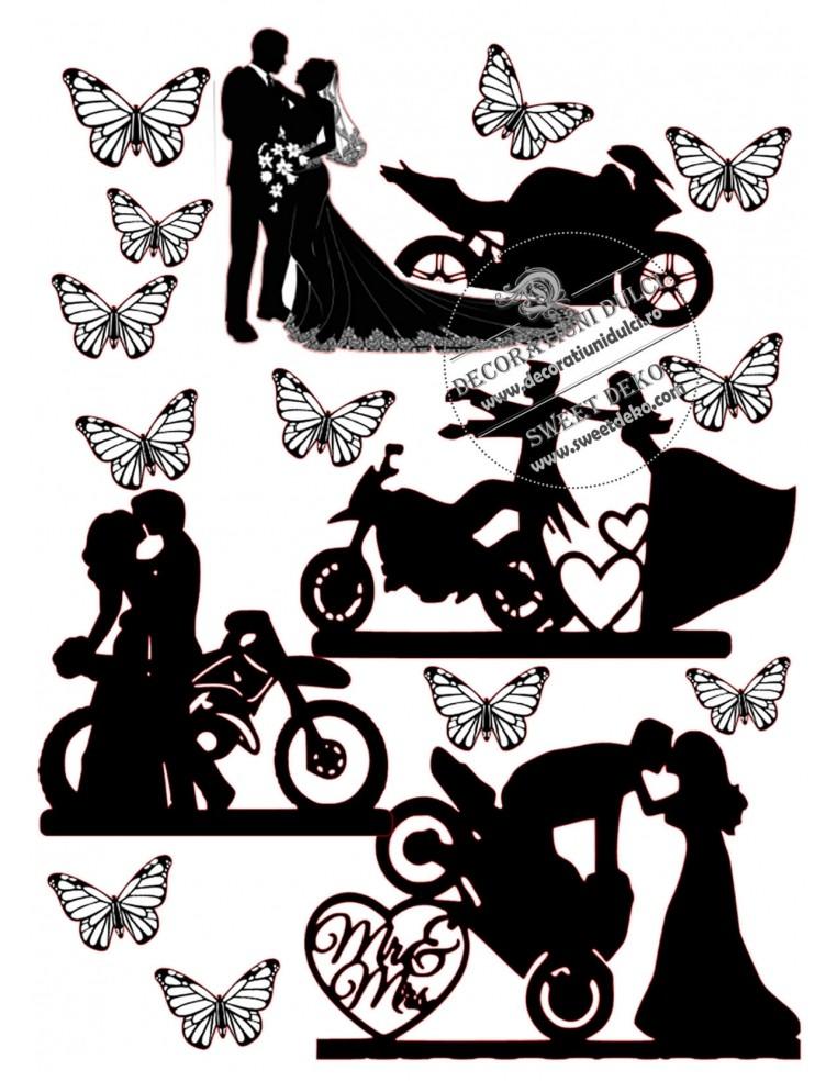 Siluete tort - Nunta pe motocicleta