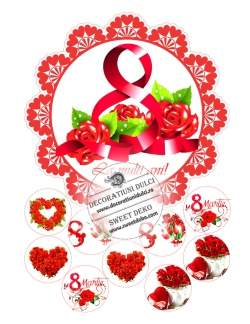 Imagine comestibila - 8 Martie cu trandafiri