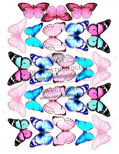 Imagine comestibila fluturi roz albastri