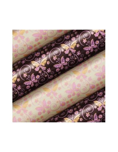 Folie tranfer cu fluturasi roz (30x40cm)