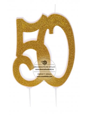 Lumanare 50 auriu glitterat