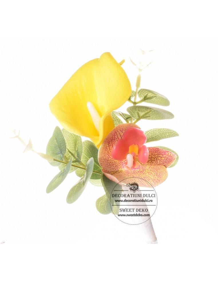 Topper Flori- Cala galbena cu orhidee